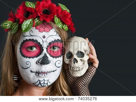 Girl with Calavera Mexicana makeup mask