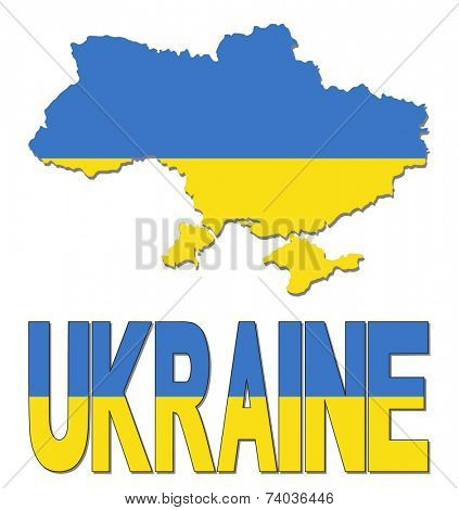 Ukraine map flag and text vector illustration