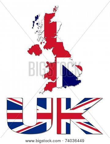 UK map flag and text vector illustration