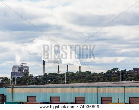 Smokestacks Beyond Commercial Area
