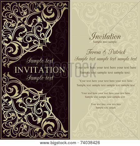 Orient invitation, dark brown and beige
