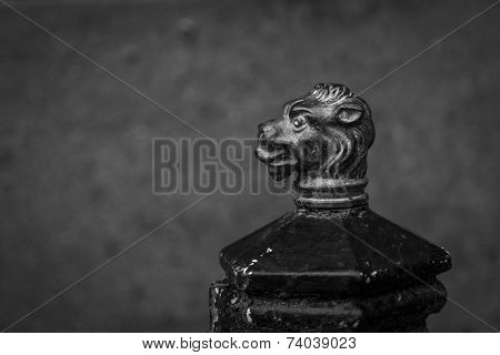 Boot Scraper With Lion Head In Black And White