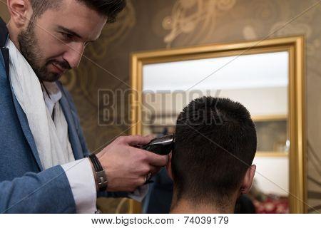 Hairdresser Do Haircut Close Up Indoor Shot