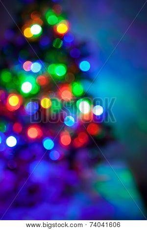 Shiny blurred lights jn the Christmas fir