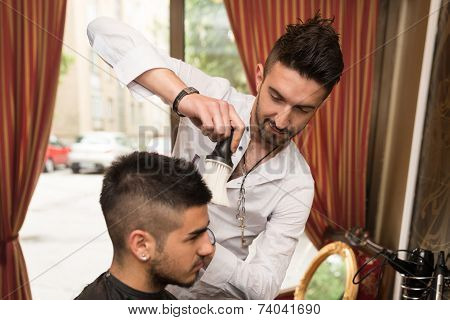Hairdresser Trimming Black Hair With Scissors