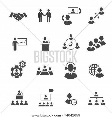Business people online meeting strategic pictograms set of presentation online conference  teamwork