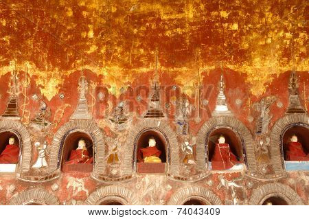Buddha Inside At Wall Pagoda Of Nyan Shwe Kgua Temple In Myanmar.