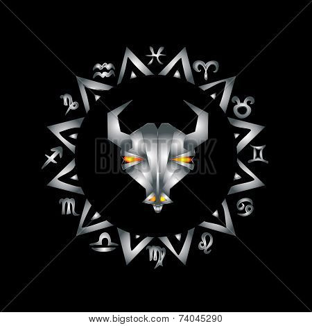 Capricorn Zodiac Sign on black background