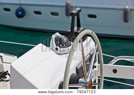 Sailing Yacht Control Wheel And Implement