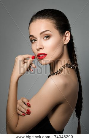 Portrait Of Young Beautiful Brunet Woman