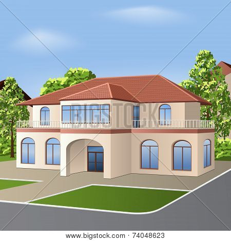 House With A Tiled Roof, Windows And Entrance