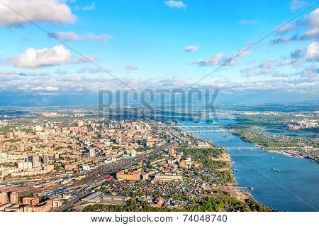 Novosibirsk Aerial View And River Ob