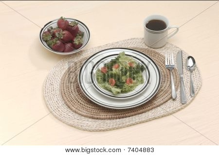 place setting for one for lunch