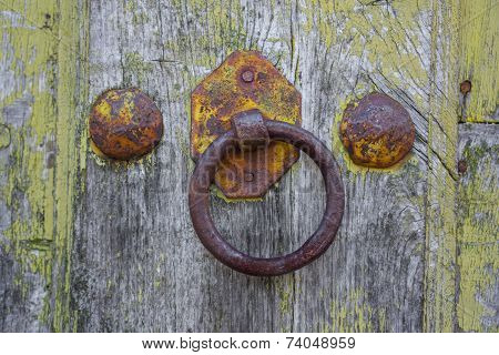 Front view of old doorknocker and painted wooden door