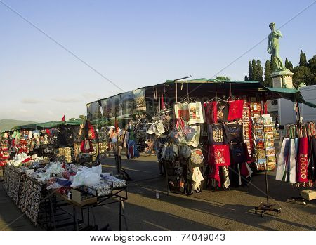 Florence, Italy - August 15, 2014: Souvenir Shops On The Piazza