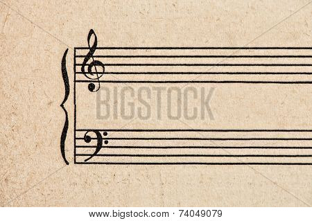 Aged Grungy Textured Paper Sheet For Musical Notes
