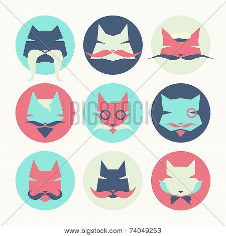 Set Of Stylized Animal Avatar Bright Cats