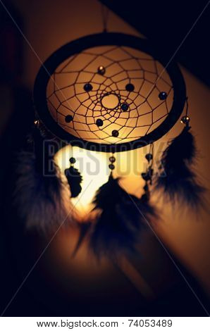 Blue Dreamcatcher at night subdued lamp
