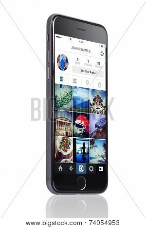 Apple Iphone 6 With Instagram Profile On Screen
