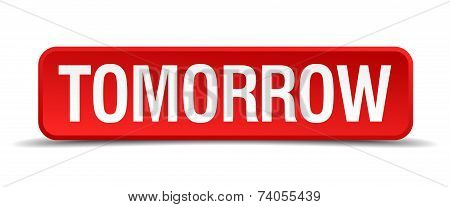 Tomorrow Red Vector Square Button Isolated On White