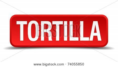 Tortilla Red Vector Square Button Isolated On White