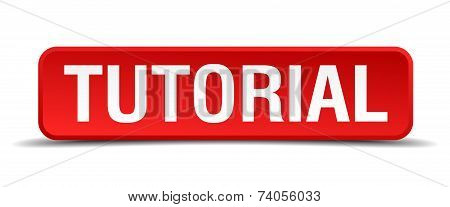 Tutorial Red 3D Square Button Isolated On White