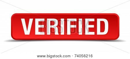 Verified Red 3D Square Button Isolated On White