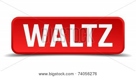 Waltz Red 3D Square Button Isolated On White