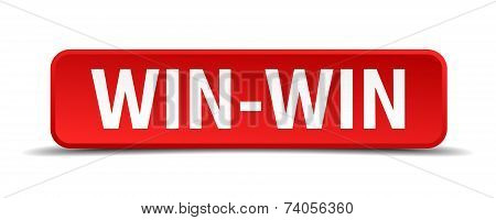 Win-win Red 3D Square Button Isolated On White