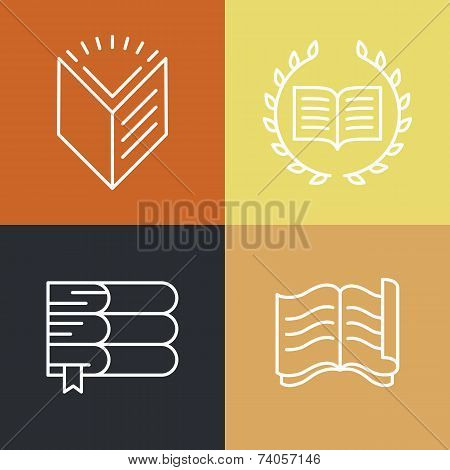 Vector Set Of Outline Education Logos And Icons