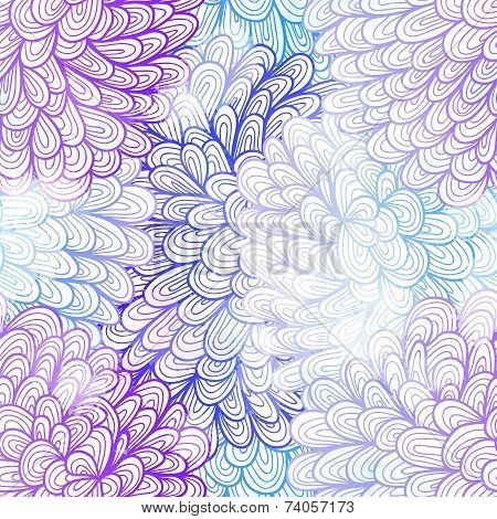 Seamless Floral Grunge  Blue And Pink Gradient Pattern. Eps10