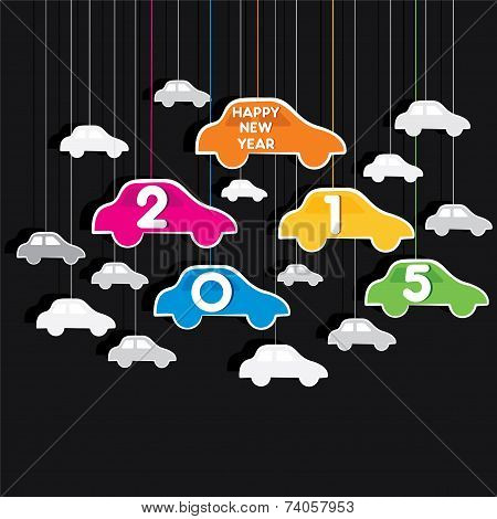 creative colorful new year 2015 greeting design with car theme vector
