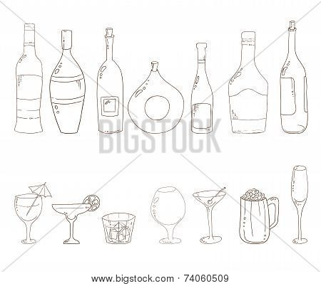 Sketch of wine bottles.