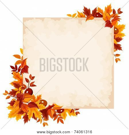 Vector card with colorful autumn leaves.