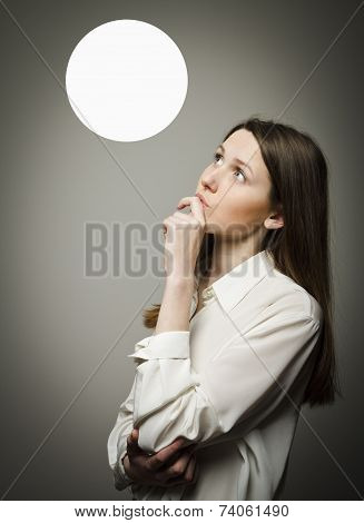 Girl In White And White Bubble.