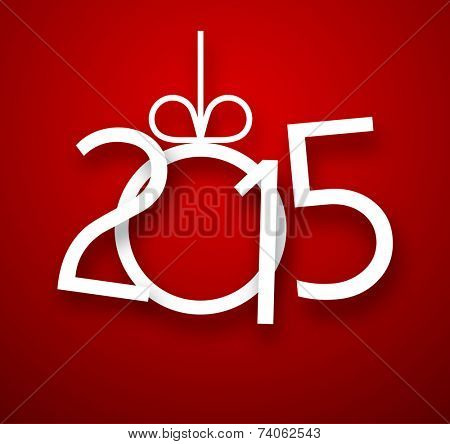 Single paper christmas ball with 2015 new year. Vector illustration.