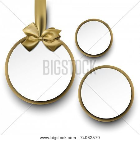 Christmas round gift cards with golden ribbons and satin bows. Vector illustration.
