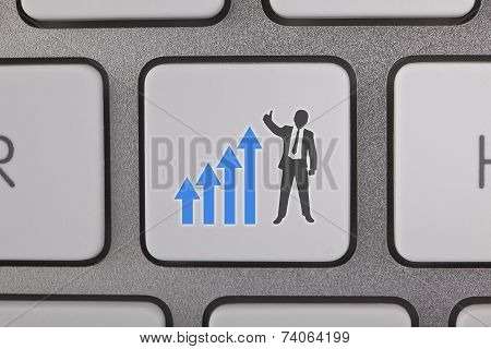 Businessman Success Graph Moving Up