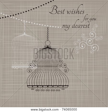 Birdcage on the fabric background