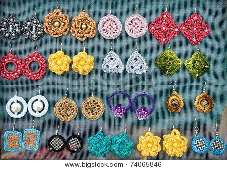 Handmade Earrings  Made Of Wool And Plastic 1