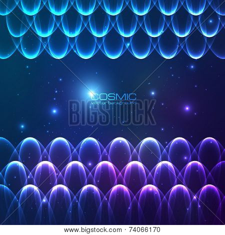 Abstract shining lines vector cosmic background