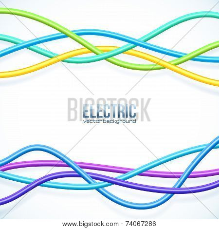 Vector hanging colored cables vector background