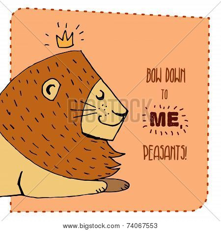 Lion hand drawn illustration. Vector illustration.