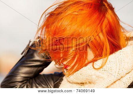 Beauty Redhaired Head Woman In Warm Clothing Outdoor