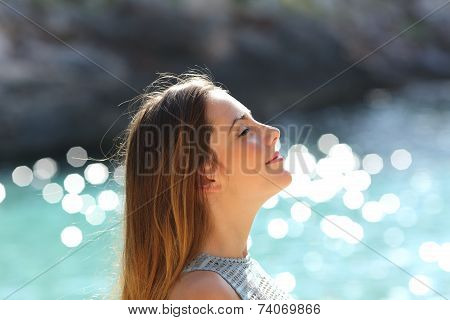 Girl Breathing Fresh Air On A Tropical Beach On Holidays