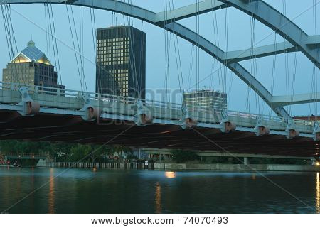 Rochester New York framed under Arched bridge