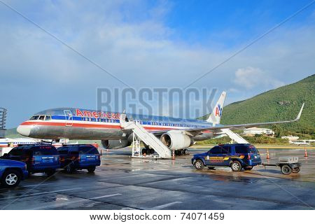 ST THOMAS, VIRGIN ISLANDS - JAN 7: Airplane at airport prepare to depart on January 7, 2013 in St Thomas, Virgin Islands. Cyril E. King Airport is the busiest in the United States Virgin Islands