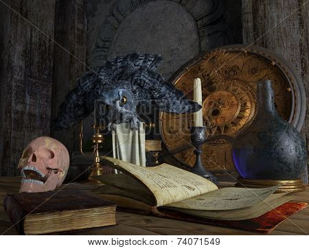 halloween magical still life with skull and owl holiday background