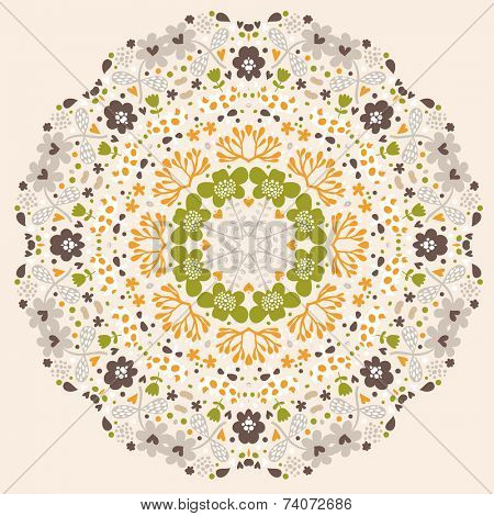 Stylish  floral design element in vector. Mandala concept vector card. Summer design element flor traditional backgrounds