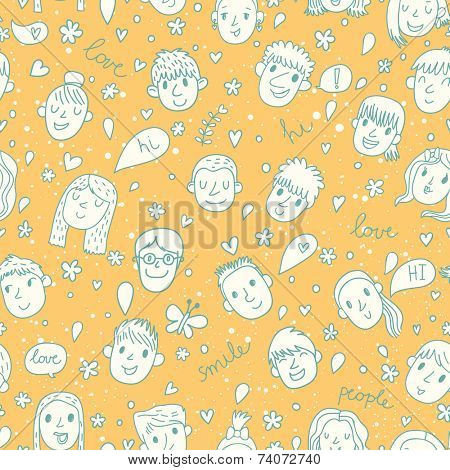 Funny cartoon faces of boys and girls in yellow colors. Seamless pattern can be used for wallpapers, pattern fills, web page backgrounds,surface textures. Gorgeous cartoon seamless background